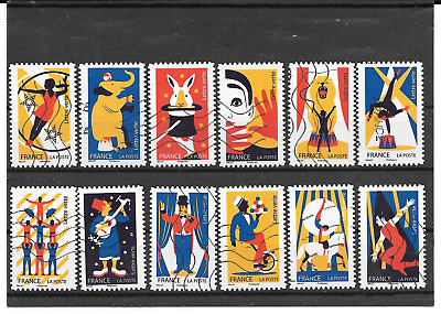 France 2017 the Arts of Circus Complete Series 12 Stamps Self Adhesive Cancelled