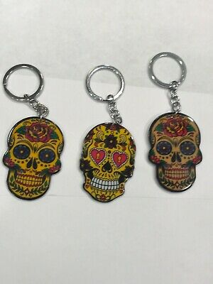 """Sugar Skull /""""RIDE/"""" Embroidered Patch Keychain #1026"""