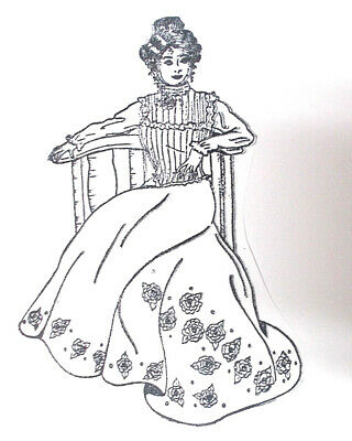 Victorian lady in long dress rubber stamp unmounted die only roses chair sitting