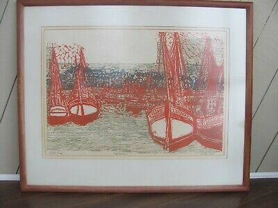 Original Canadian Listed Artists Proof Alistair Bell RED HARBOUR Woodcut 1968