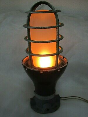 Vintage Crouse-Hinds Company Industrial Light With Cage And Works
