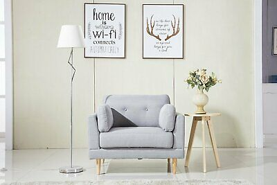 Grey Mid Century Modern Living Room Armchair Accent Chair Wooden Legs Frame