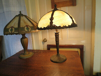 Antique Art Nouveau Bent Slag Glass Lamp Bradley & Hubbard Miller Handel Empire