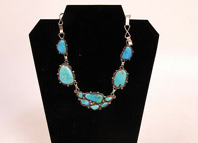 """Navajo Sterling Silver & Turquoise Choker Necklace 16"""" c.1960s w/ 10 large turq."""