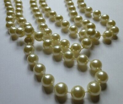 "fashion jewelry flux ivory pearl 47"" strand necklace Mom's estate vintage"