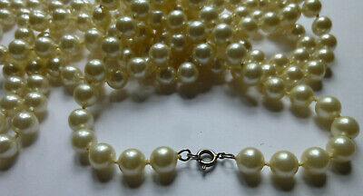 "fashion jewelry flux ivory pearl 106"" strand necklace Mom's estate vintage"