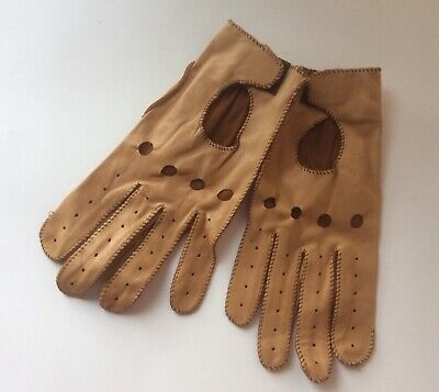 Mens Leather Driving Gloves Deerskin Unlined Size L Tan ... NEW