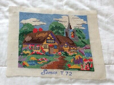 Vintage finished tapestry Semco countryside colourful cottage village scene