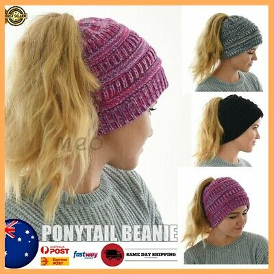 Ponytail Beanie Winter Girls Stretchy Knit Crochet Womens Messy Bun Beanies