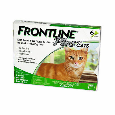 Frontline Plus Flea and Tick Control for Cats and Kittens, 6 Doses - New in Box