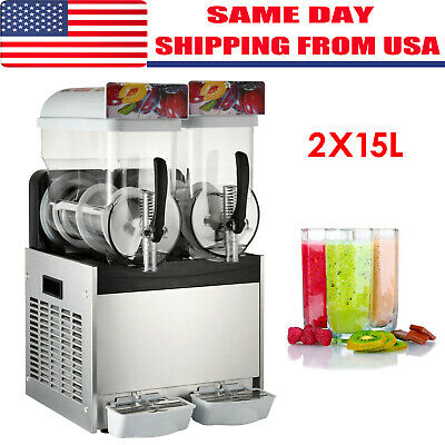 110V Commercial 2 Tank 30L Frozen Drink Slush Slushy Making Machine Great