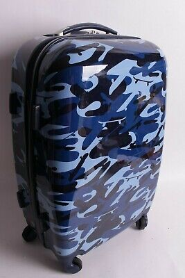 Pottery Barn Kids Mackenzie large hard sided navy camo rolling luggage spinner