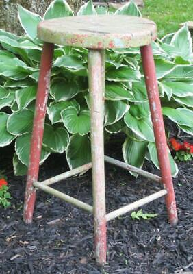 """Vintage Wood Stool Shabby Primitive Chippy Paint Chic Country Display Stand 27""""T"""