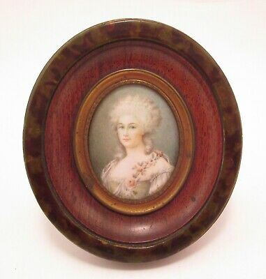 Antique French Miniature Portrait Painting of an 18th Century Beauty