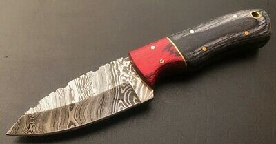 "7"" Custom Handmade Damascus Steel Hunting Skinning Knife Pakka Wood Handle;4383"