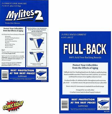 25 Mylites2 CURRENT Mylars Bags & Full Back Comic Boards 700M2/675FB E. Gerber