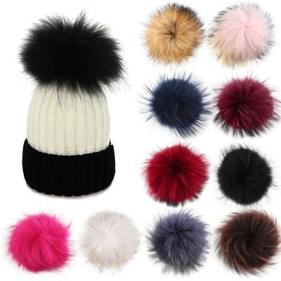 10cm 12cm Large Faux Raccoon Fur PomPom Ball Press Button for Knitting Hat sm