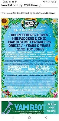 Kendal Calling - Adult camping weekend ticket plus Thurs Ticket