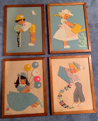 """Vintage Children's Nursery """"Felt Art"""" Wall Pictures by Lenore O'hare"""