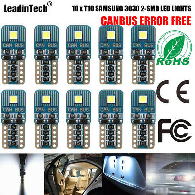 10pcs T10 Canbus Error Free LED Bulb W5W 3030 2SMD License Plate Reading Light