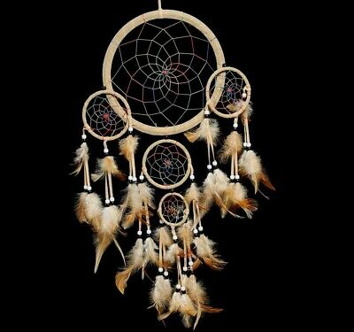 """Dream Catcher Brown Wall Hanging Decoration Bead Ornament Feathers Long 23.5"""""""