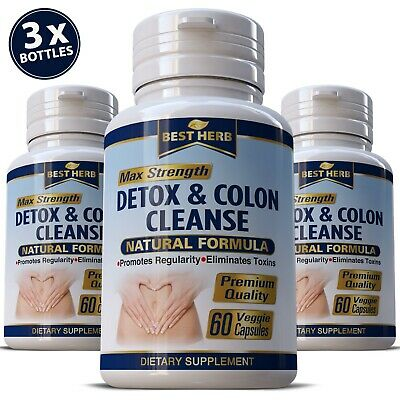 SUPER COLON DETOX Cleanse Capsules Organic Herbs Flush Pounds Weight