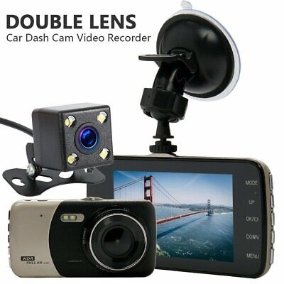 4'' 1080P Dual Lens Car DVR Dash Cam Video Recorder Front and Rear Camera LCD AU