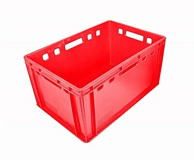 2x Stackable Red E3 Butcher's Box Storage Transport Storage Containers