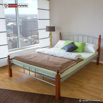Metal Bed Iron Bed Double 160 x 200 Wood Slatted silver brown bed frame 915