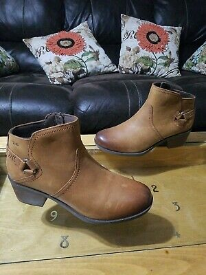 f41147d9e $130Teva Foxy Wp Caramel TanBrown Womens Ankle Boots Size 9M Zippered NWOB  Flaws