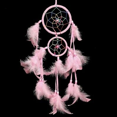 Young Girl Dream Catcher With Pink Feather Room Hanging Decor Friends Gift