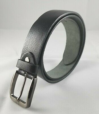 Men's Classic Metal Buckle Handcrafted Black Genuine Leather Belt