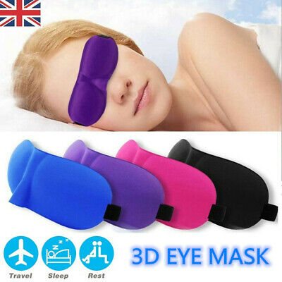 3D EYE MASK SOFT SPONGE PADDED TRAVEL SLEEPING BLINDFOLD SLEEP AID Kid Girls Men
