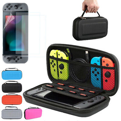 For Nintendo Switch Case Carrying Bag Cover and 3x Screen Protector Film Guard