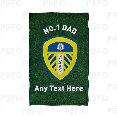 Leeds United FC Official Personalised LUFC Crest No.1 Dad Beach Towel LBT036