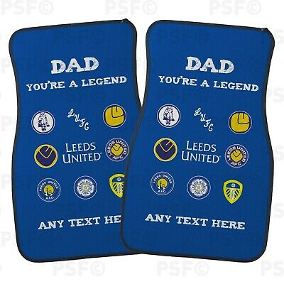 Official Leeds United FC Personalised Car Mats Set of 2 Front Dad Legend LCM014