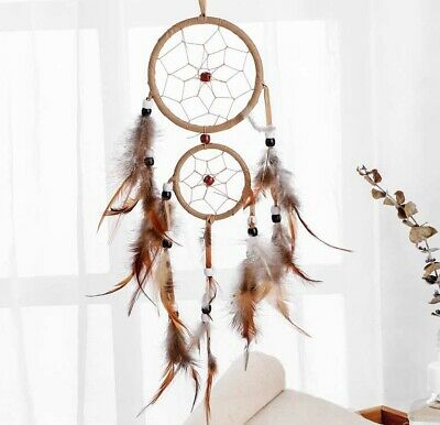 """18"""" Handcraft Dream Catcher Brown feather Ornament Bead Wall-Car Hanging New"""