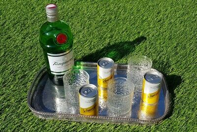 """16"""" rectangular vintage silver plate drinks chased gallery serving tray cocktail"""