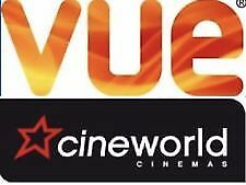 1 Cinema e-code ticket for Vue Or Cineworld. Worth up to £20