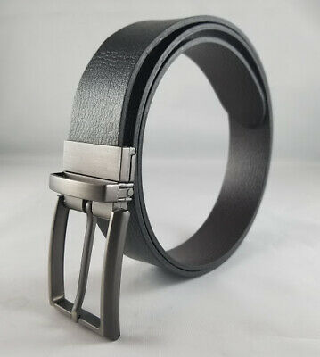Men's Classic Metal Buckle Reversible Black & Coffee Genuine Leather Dress Belt