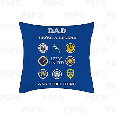Leeds United FC Official Personalised Dad Legend Father's Day 45cm Cushion LC015
