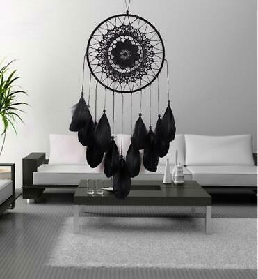 Large Dream Catcher With Feather Car Wall Hanging Decoration Decor Bead Black