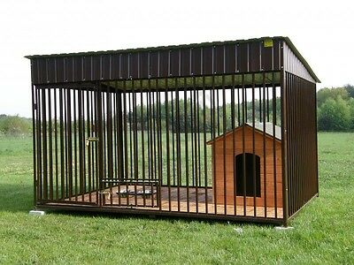 Solid Dog Kennel And Run Outdoor Animal Cage 3 Sizes 