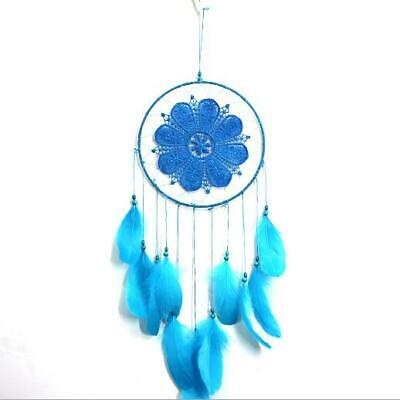 Handmade Dream Catcher with Feather Wall Hanging Decoration Ornament Blue