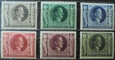 GERMAN REICH 1943 Hitler's 54th Birthday Complete Set of 6 MNH