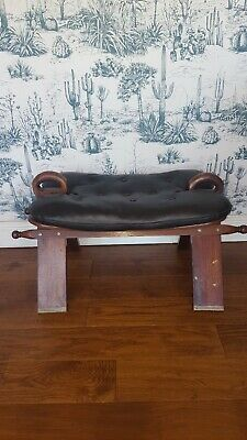 Vintage Leather Camel Stool