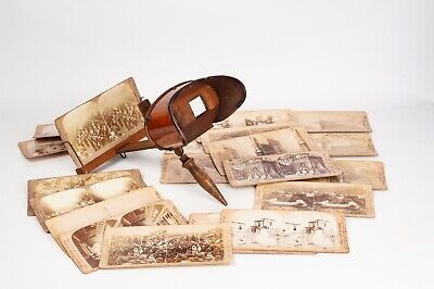 Hand-help Stereoscope , wood stereo viewer for 9x18 cm card + 22 cards