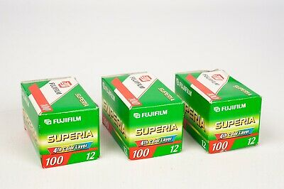 Fuji Superia 100/12 x3 unit of 35mm film for color print  EXPIRED  07/2002