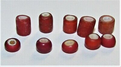 Ancient Celtic glass beads set 10 pieces!  VERY RARE! TOP Red white  Colours!!!