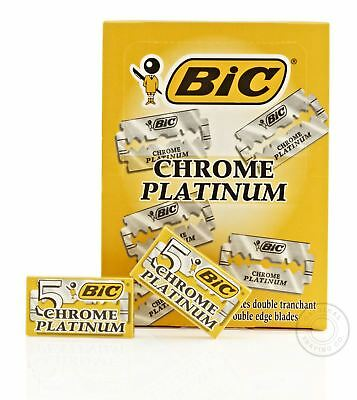 BIC Chrome Platinum Double Edge (DE) Razorblade - 100 Blades (20 packs)